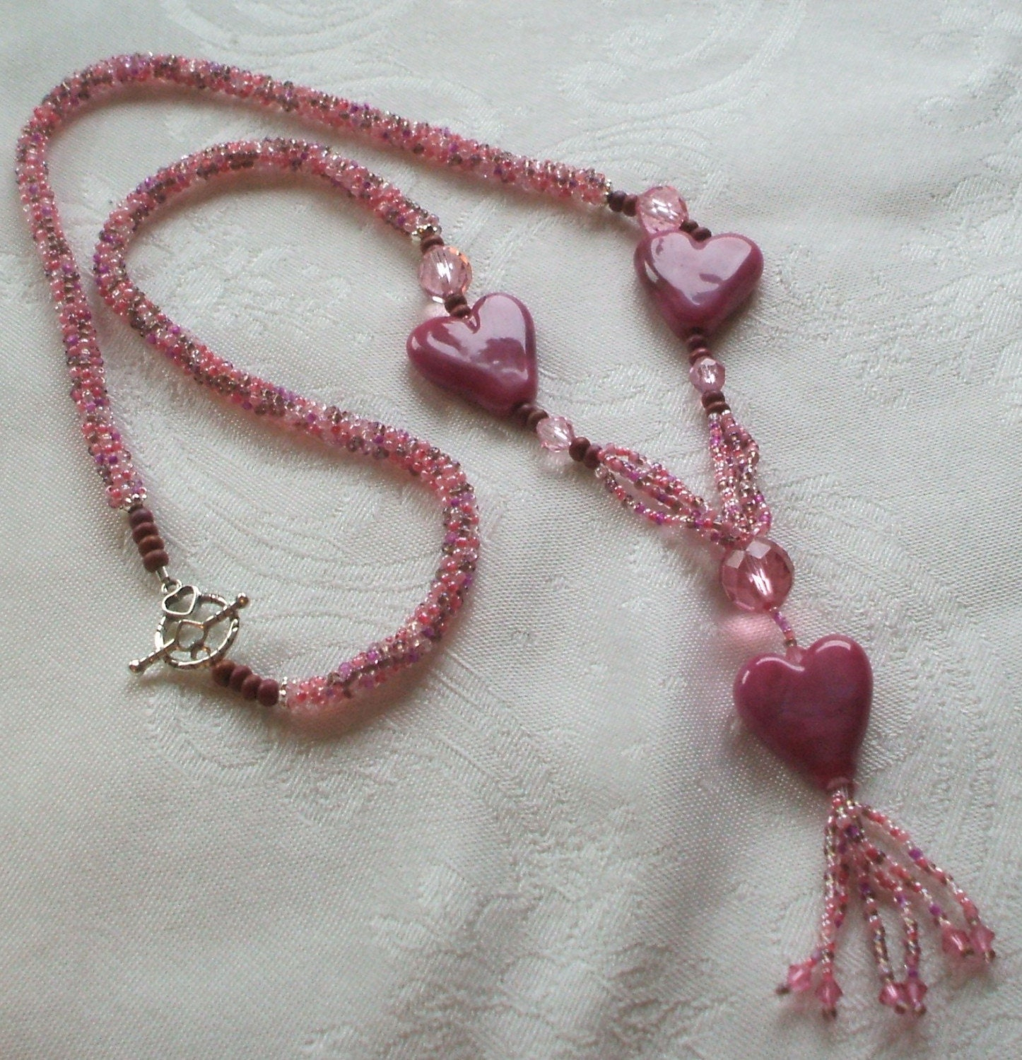 Here's My Heart Lampwork and Beadwoven Necklace