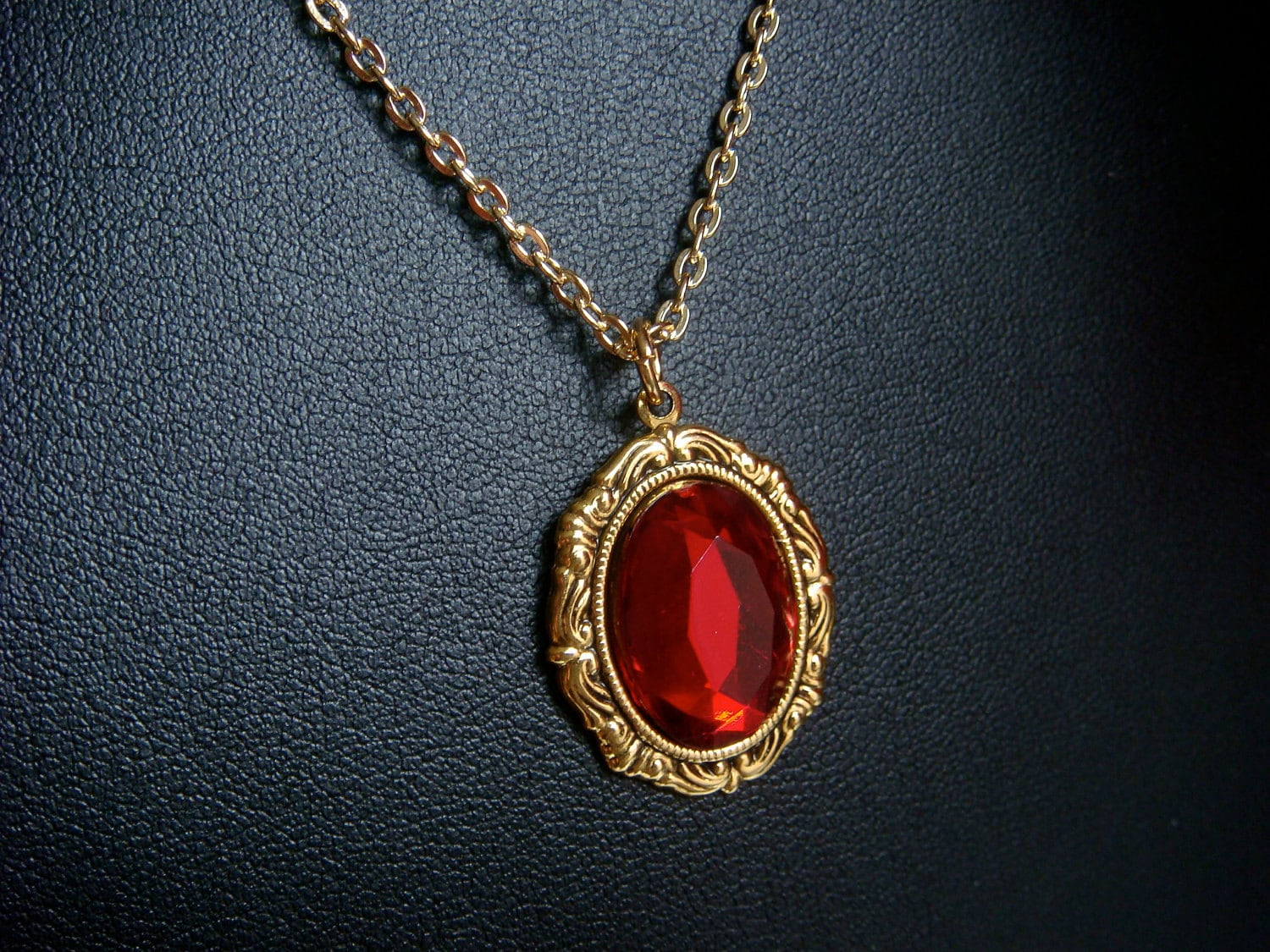 Renaissance Necklace With Red Gem In Gold Gold by LoveMontreal