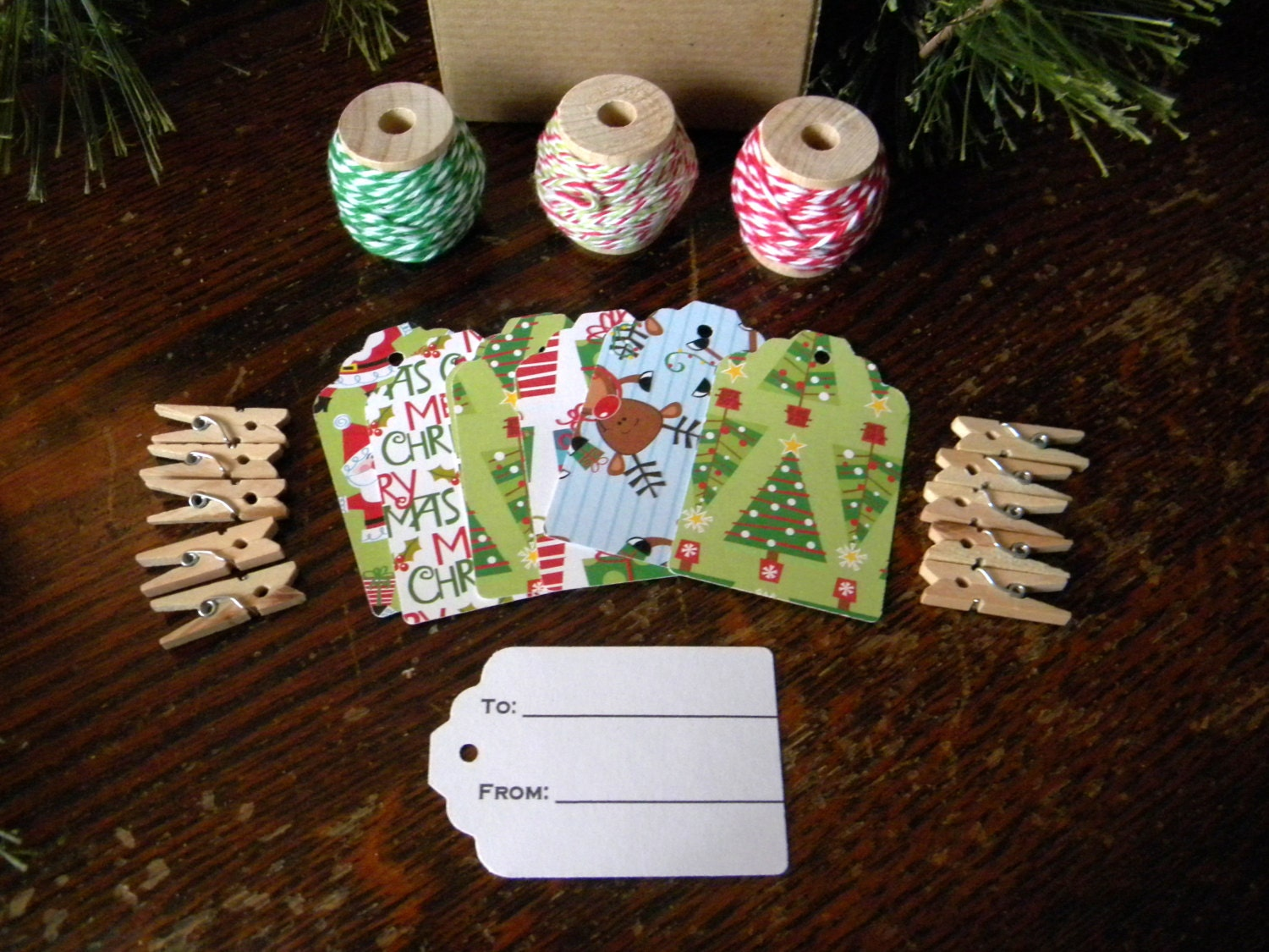 Classic Colors Christmas Gift Tags and Twine Kit, 3 Varieties of Twine, 20 Hand Punched To/From Gift Tags, 10 Clothes Pins, Hostess Gift - CMWrapNShipSupply