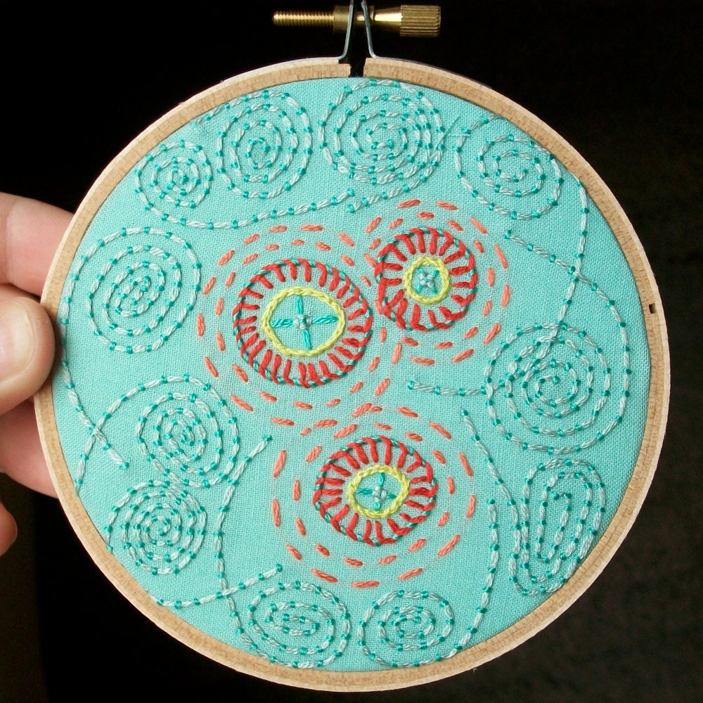hand embroidered wall art - freeform flowers and swirls in 4 inch hoop by bo betsy - free shipping