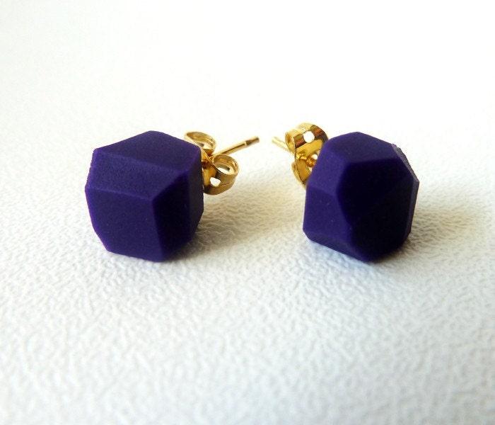 dark purple geo earrings