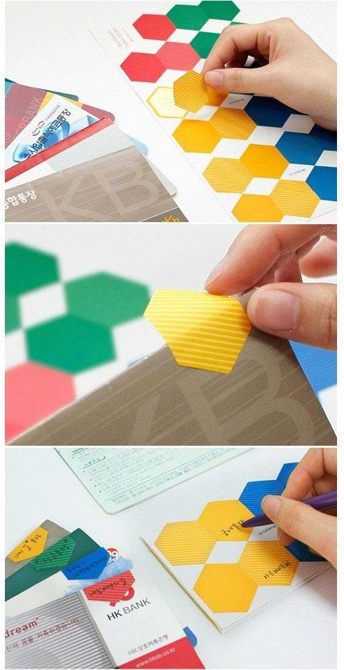 Hexagon index sticker