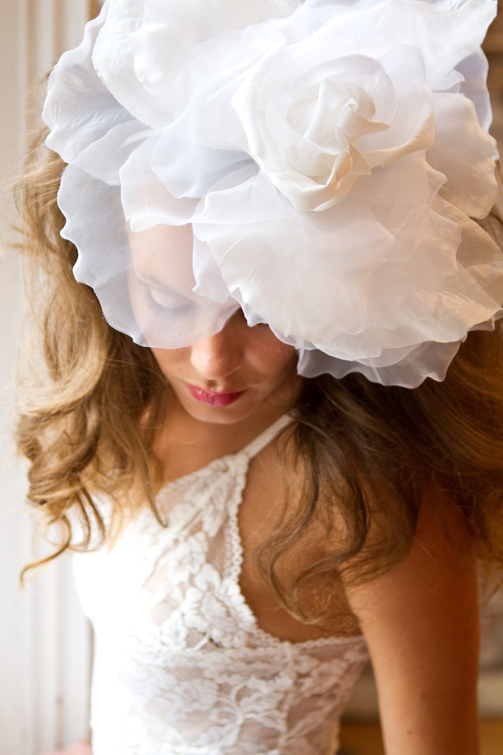 "White ""Ivana"" Flower Fascinator"