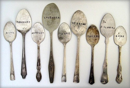hammermann 9 antique spoon garden markers set