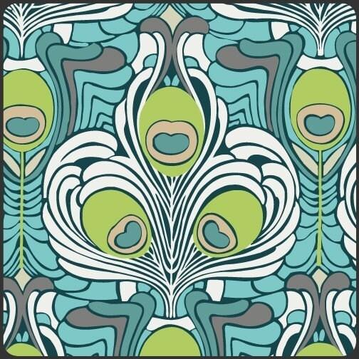 Art Gallery Fabrics, Filigree, Teal Deco Plants, 1 yard