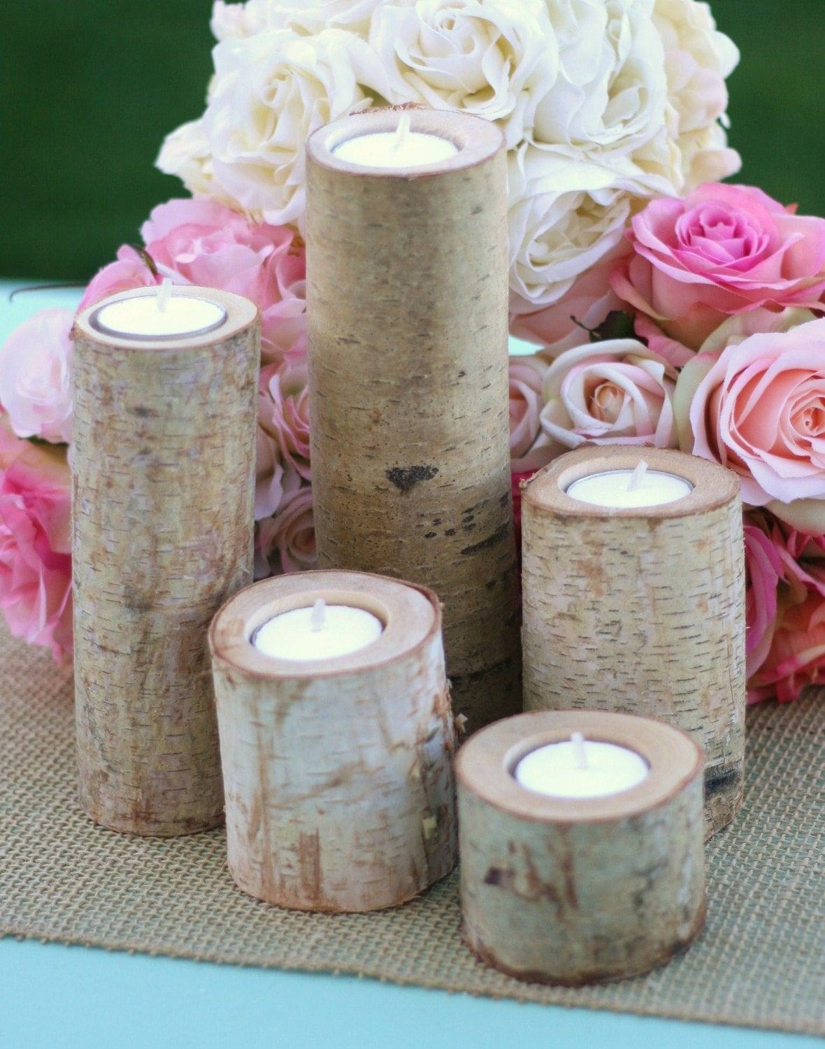 Birch Candles Centerpiece Votive Tea Light Candle Holders SET of 25 - braggingbags