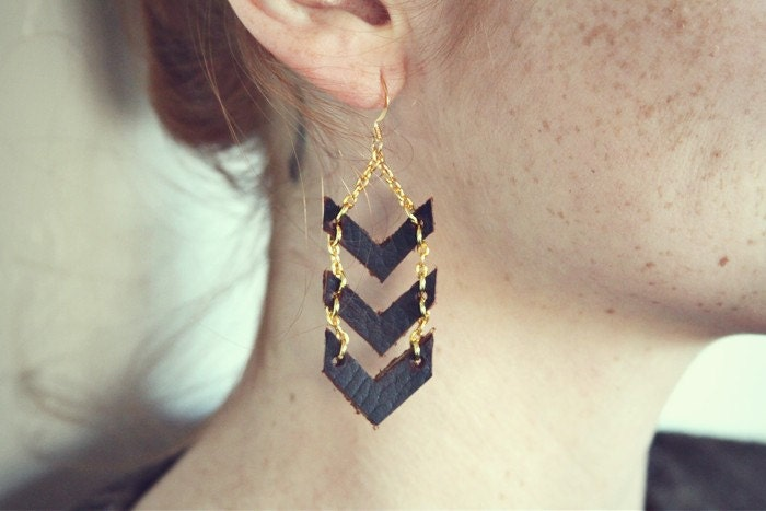 Gold Chevron Dangles - mooreaseal