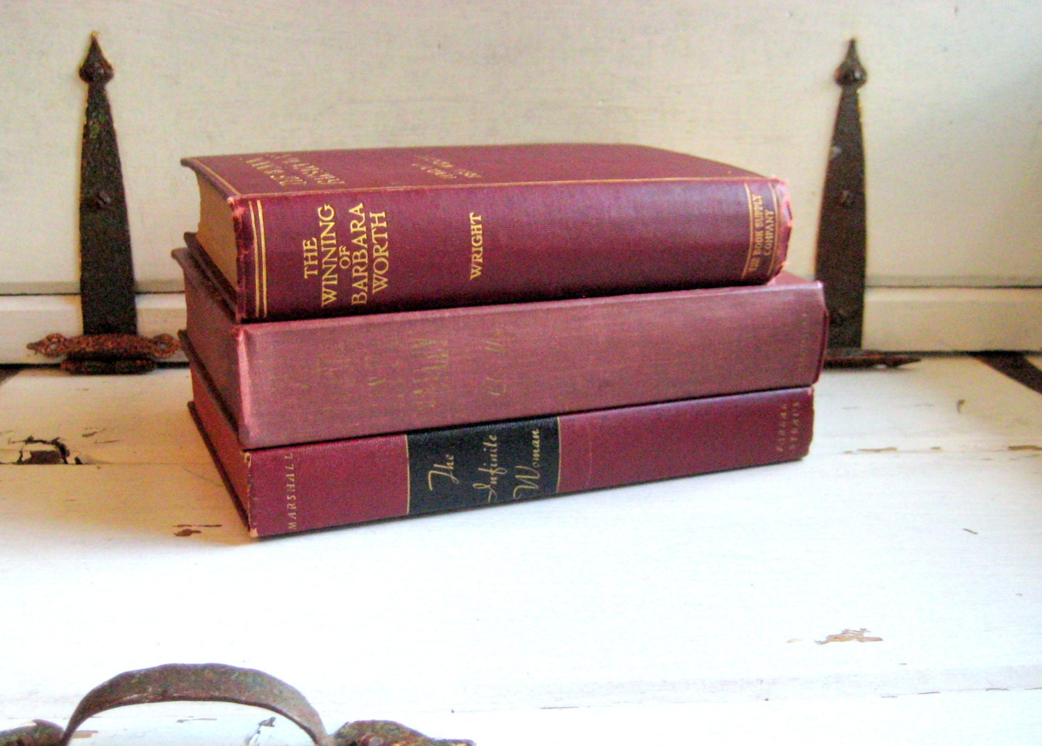 Shabby style vintage book collection, 3 burgundy and gold dramatic novels including How Green was my Valley - jensdreamvintage