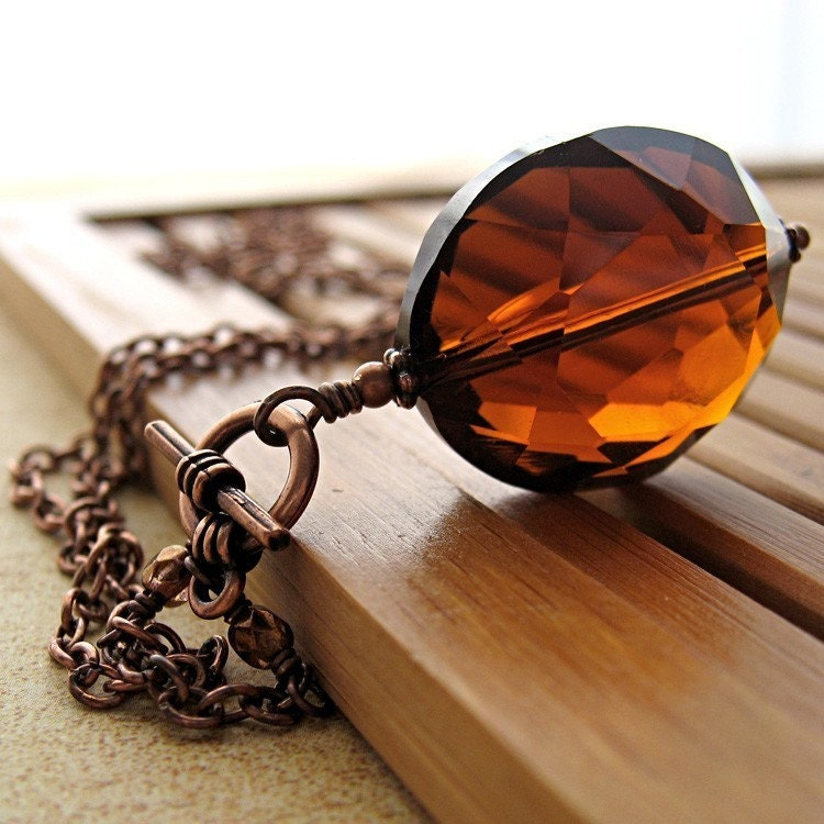 Cognac Deluxe - Glass Pendant Necklace with Antiqued Copper