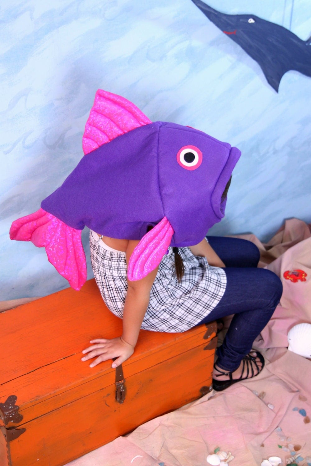 Special order jennifer purple fish costume by lauriesgift for Fish head costume