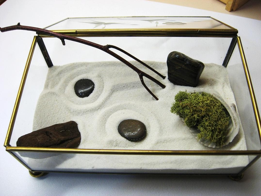 Zen Garden Terrarium with Moss Inside of a Vintage Glass Box with Etched Butterfly