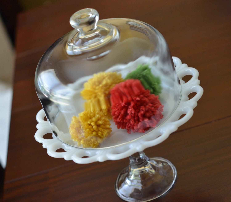 Vintage Milkglass Dessert pedestal with Cloche