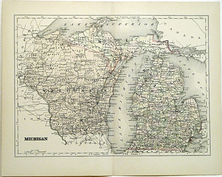 Michigan Map 1890s Hand Colored Engraving by ClassicTouchPrints