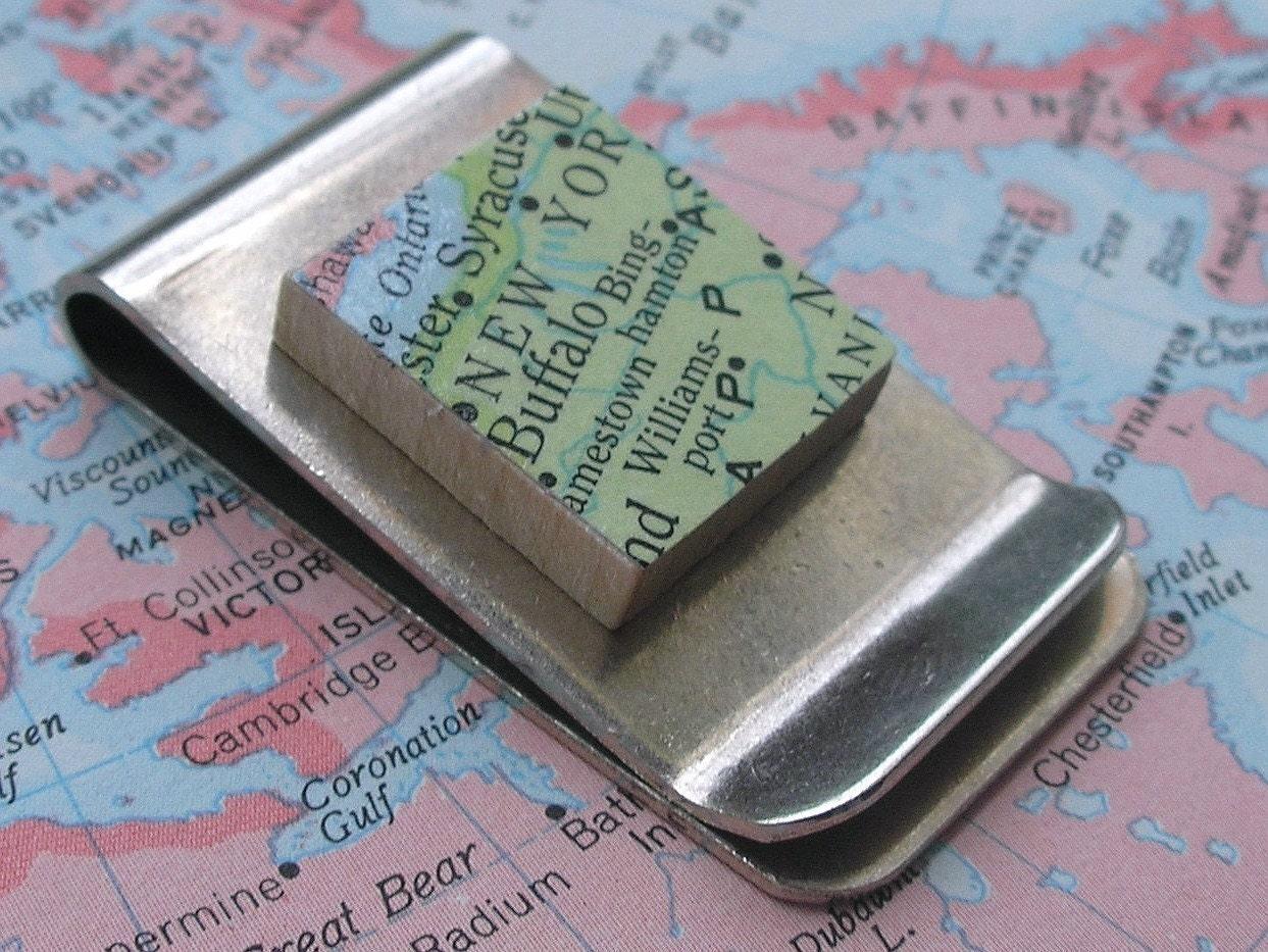 You Choose Your Life Vintage Scrabble Tile Money Clip - Vintage Map or Vintage Dictionary Word