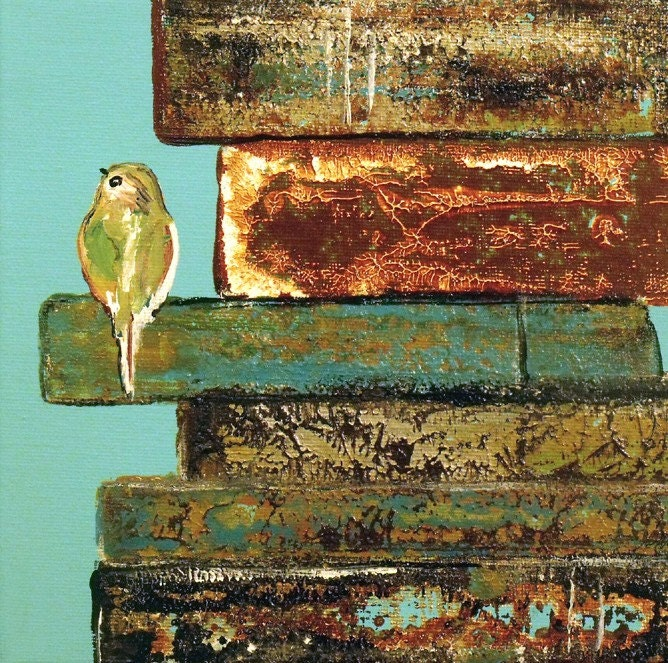 Bird Art Print, Signature Bird on Vintage Books, 8 x 10, Aqua and Rustic Chic, Laura Sue Peters - ContemporaryEarthArt
