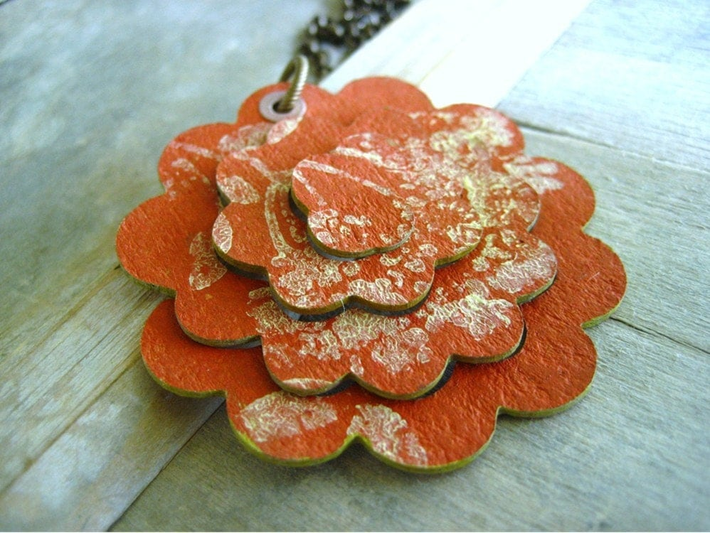 Sale Pop Flower Necklace in Pumpkin Spice from the Pop Flower Collection by Soul Song Creations