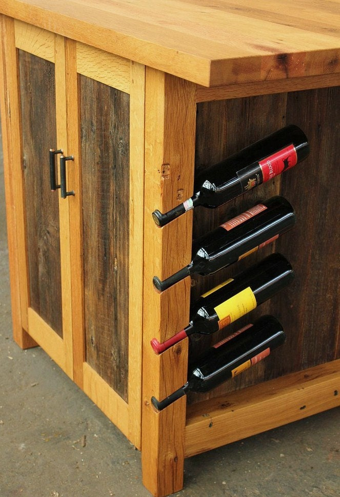 Barnwood Kitchen Island Rustic Workstation Wine By