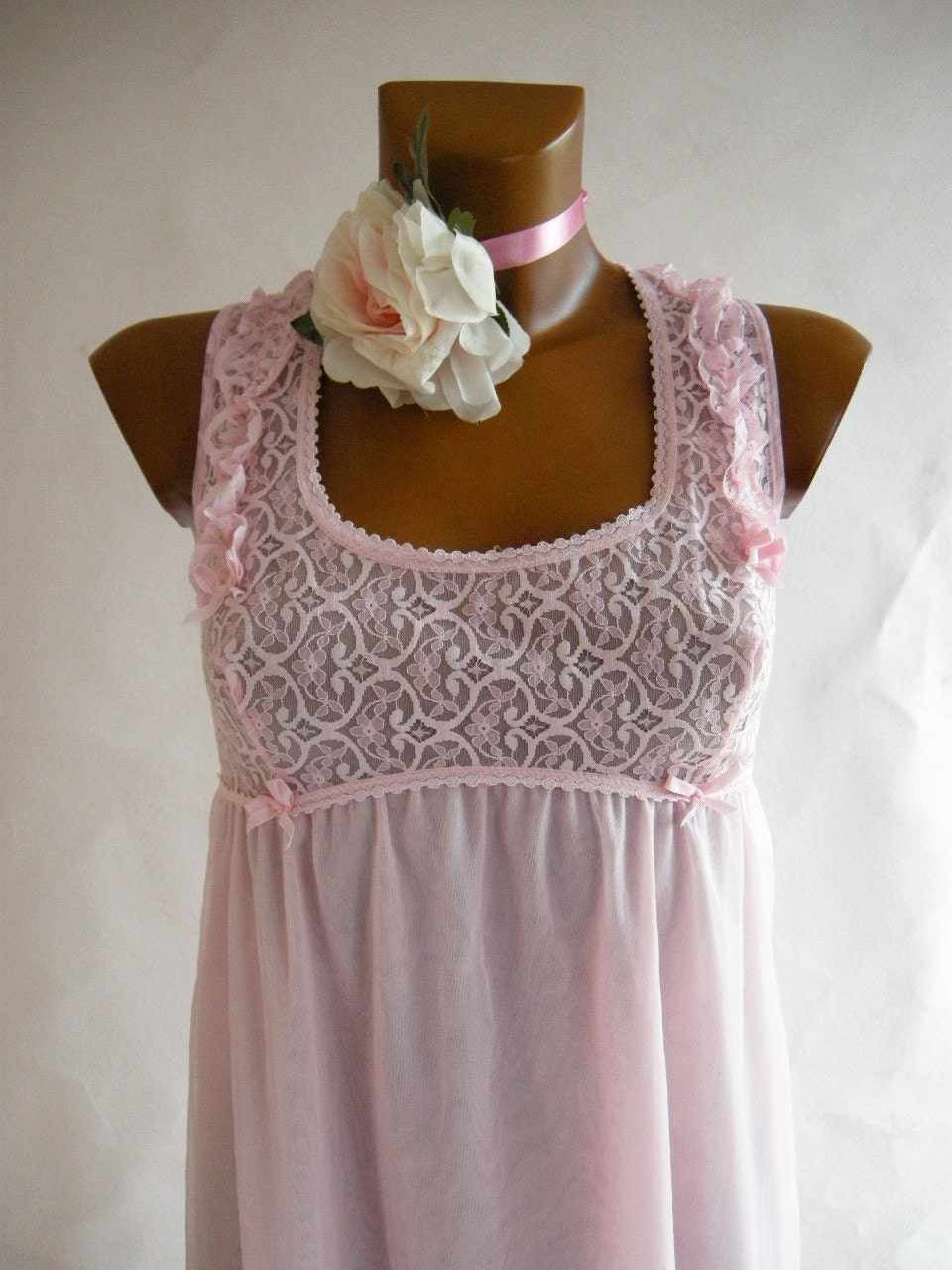 Pink Chiffon Vintage 60s Babydoll Nighty Lace by empressjade from etsy.com