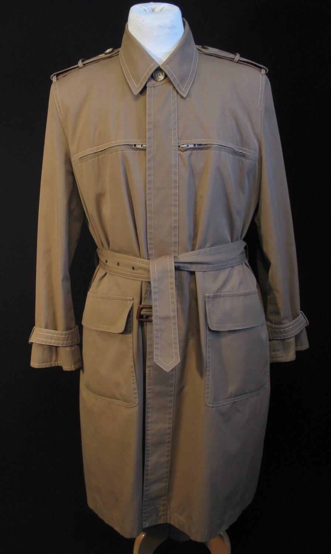 YSL Vintage 70s Men's Safari Trench Coat ML L Yves Saint Laurent