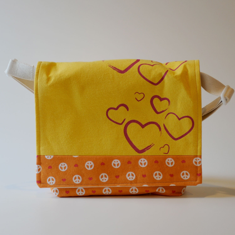 Messenger Bag, Yellow and Orange with Metallic Hearts