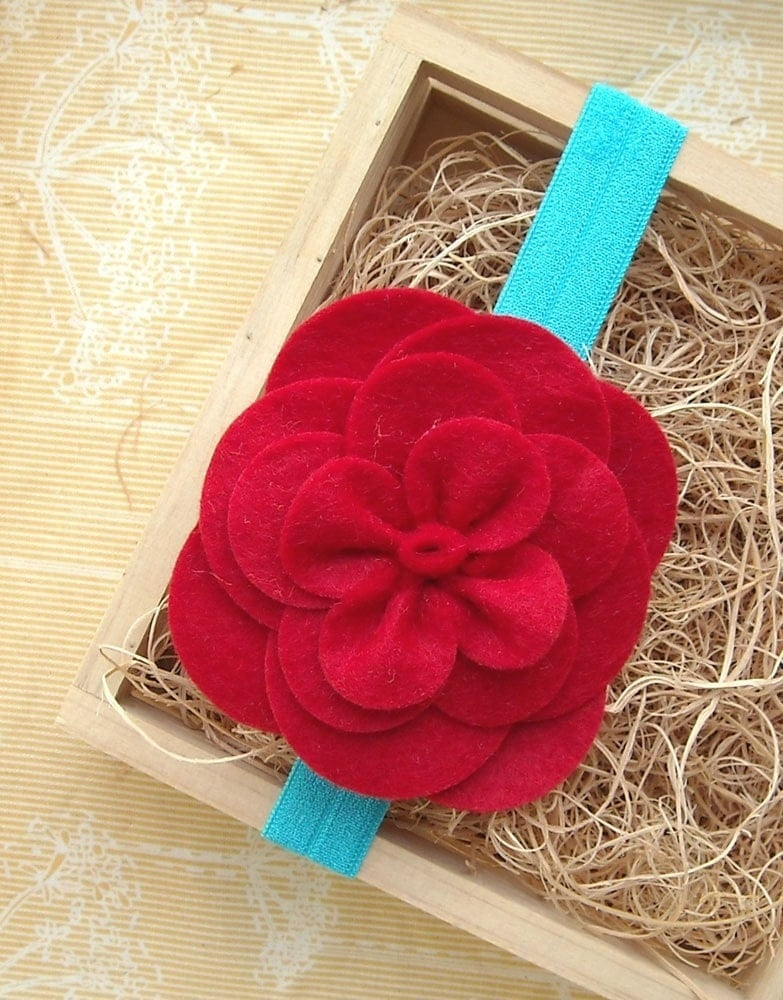 DIY kit- everything you need to make the gardenia felt flower, plus tutorial (with stretchy headband)