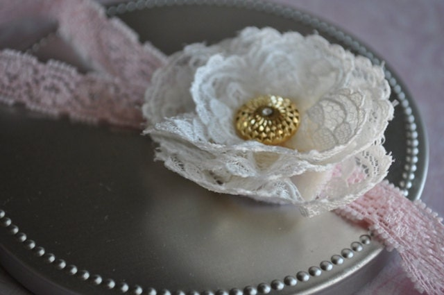Lacee. Ivory lace flower headband