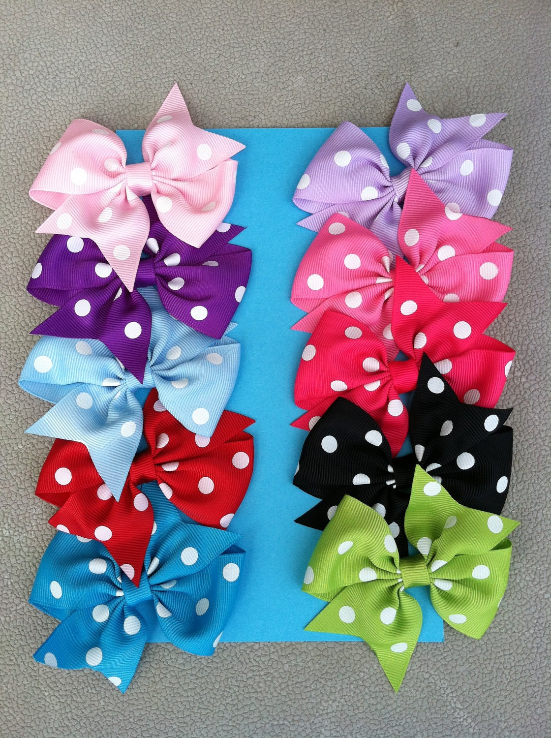 hair bows / set of 10 / polka dot / 10 colors /  newborn toddler big girl shower gifts birthday girl