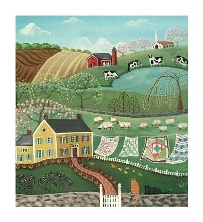 PATCHWORK QUILTS Airing the Quilts in Spring SIGNED PAINTING PRINT Primitive Art COUNTRY CHARM