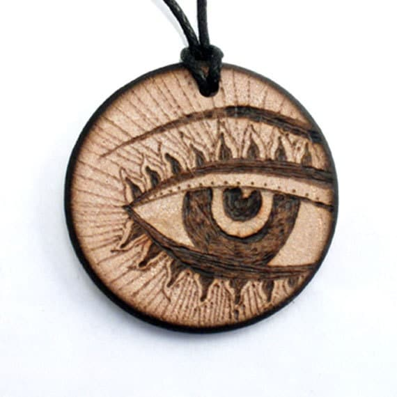Third eye necklace wooden necklace wood pendant by for How to make a wooden pendant