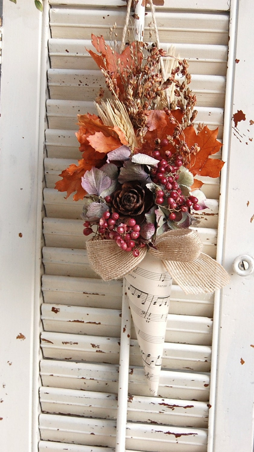 Fall Dried Flowers In Paper Cone Vintage Sheet By Roseflower48