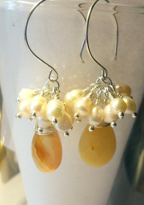 Carnelian  Freshwater Pearls Drops Earrings