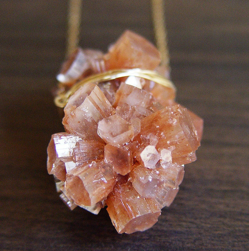Peach Aragonite Gold Necklace  -  Crystal Mineral Stone - friedasophie