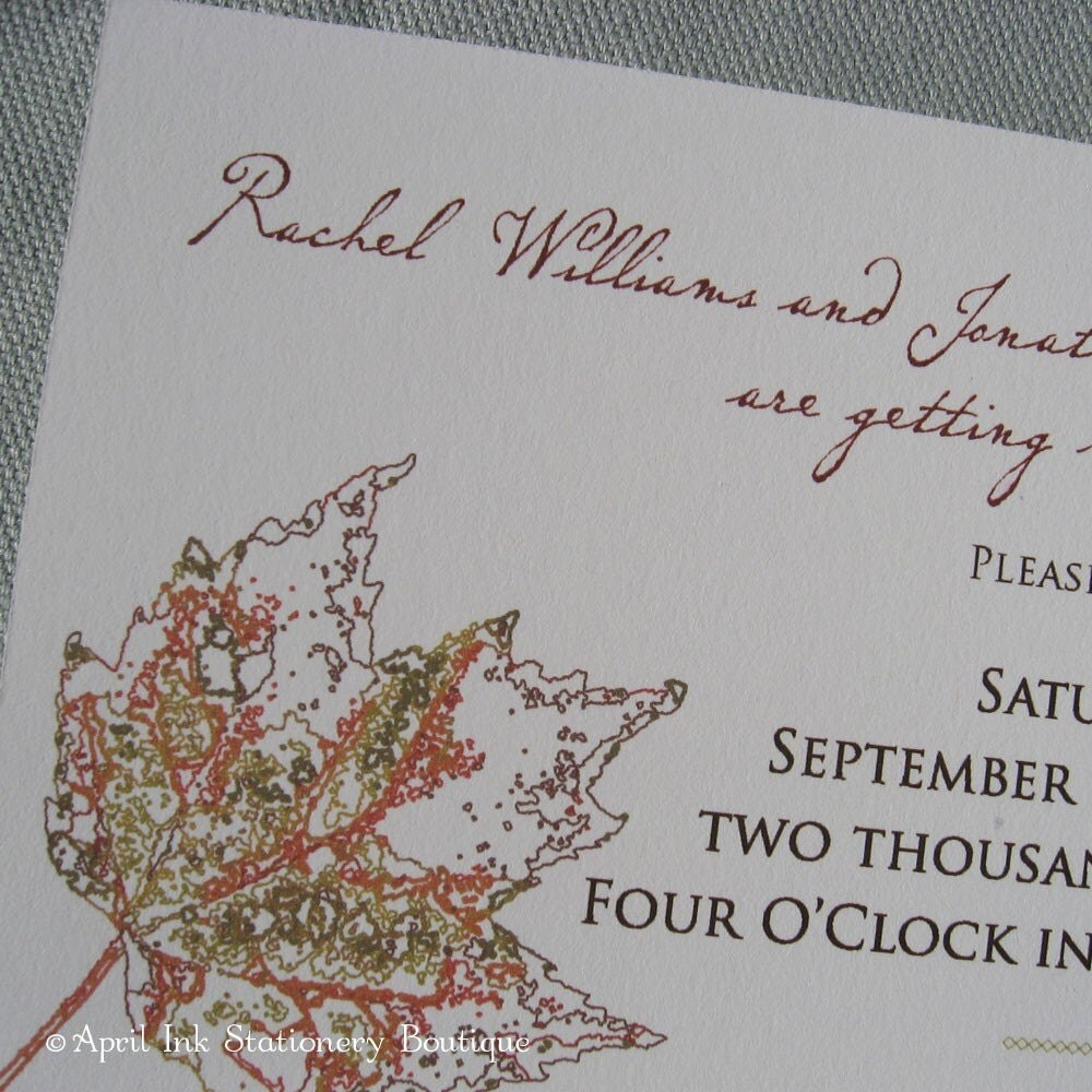 Autumn Leaves Party or Wedding Invitation Sample