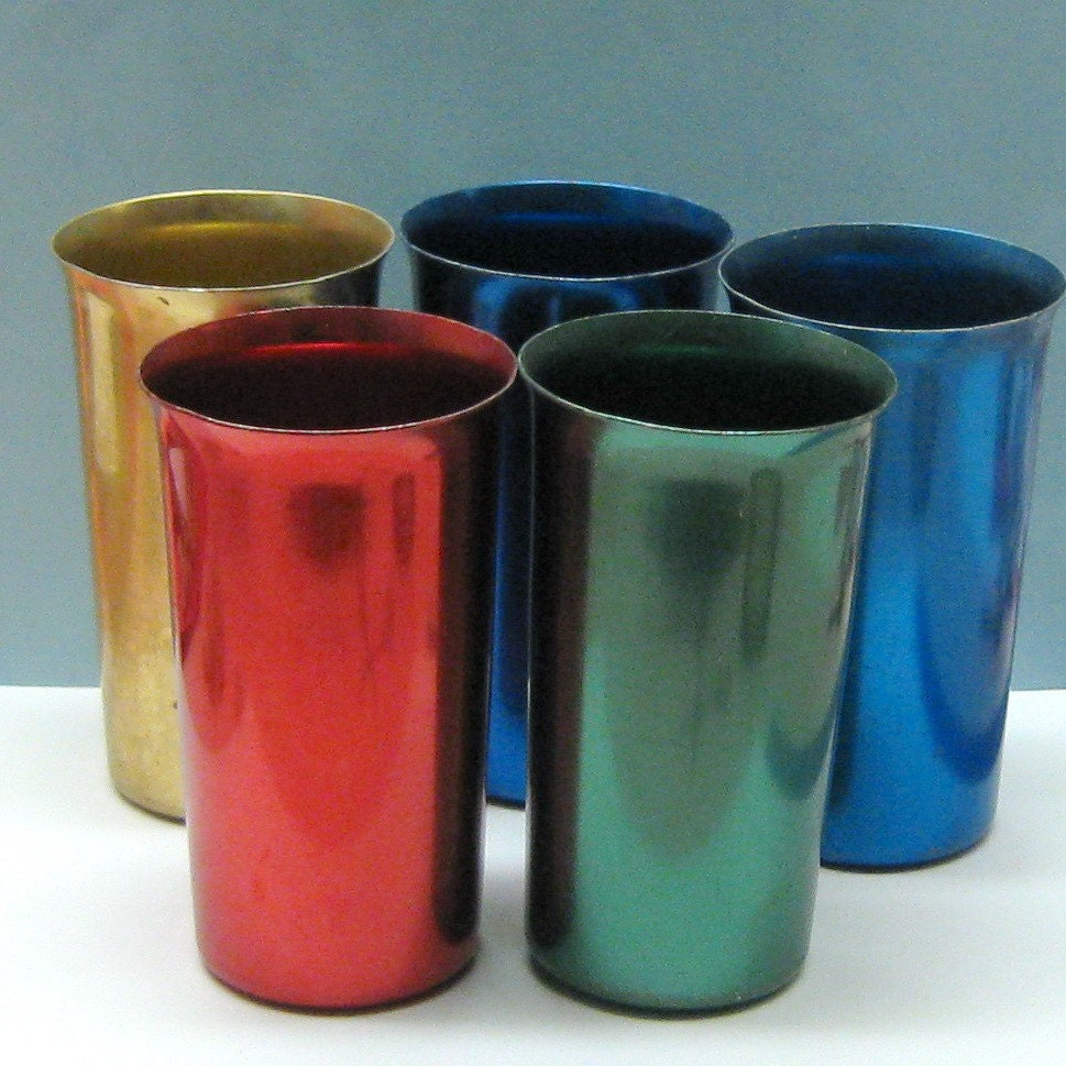 5 vintage tin metal glasses by sunburst made in by