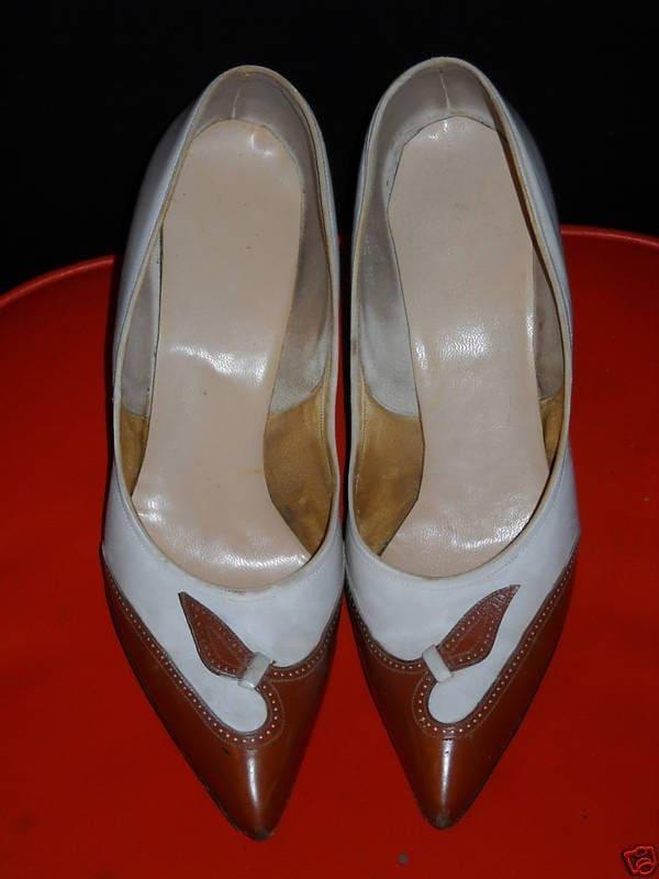 Vintage 1950s MAD MEN KITTEN HEEL Leather SPECTATOR PUMPS SHOES size 6