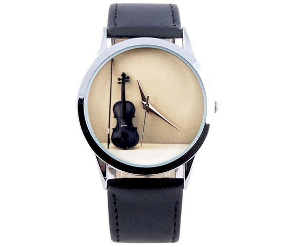 Unisex Handmade Watch with a real leather band - Violin
