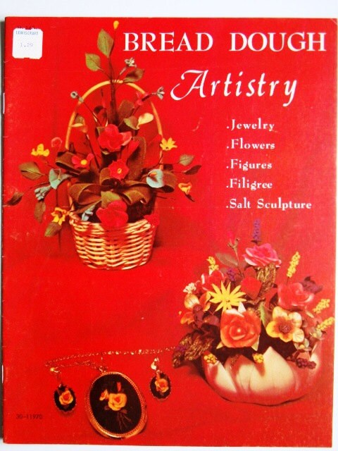Vintage bread dough artistry craft book jewelry by for Salt dough crafts figures