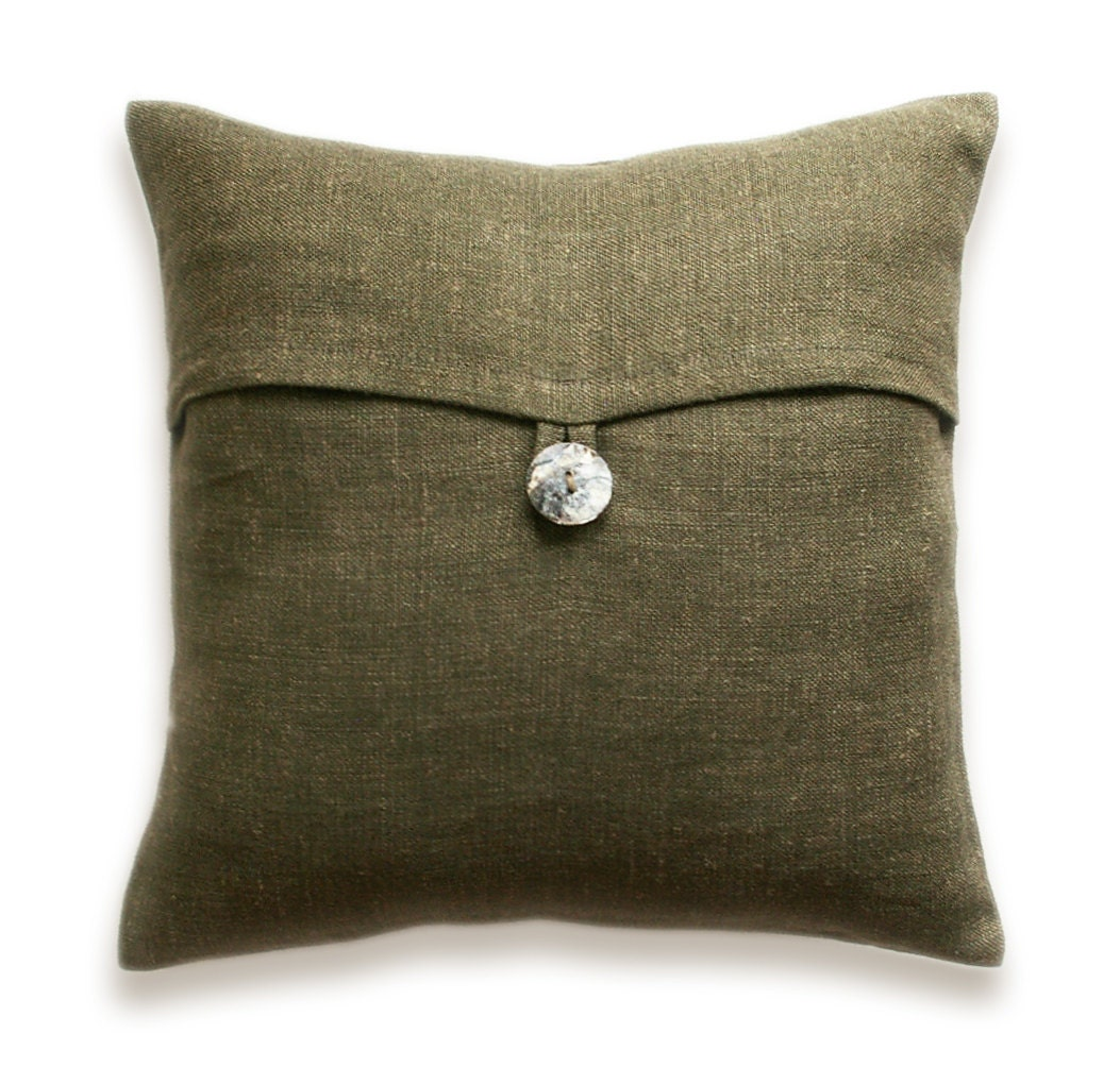 Dark Olive Green Linen Throw Pillow Cover 16 by DelindaBoutique