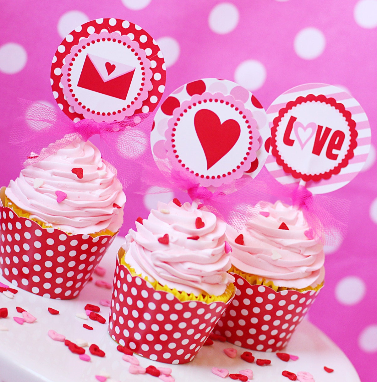 Items similar to DREAMS COME TRUE Valentine's Day Cupcake Toppers