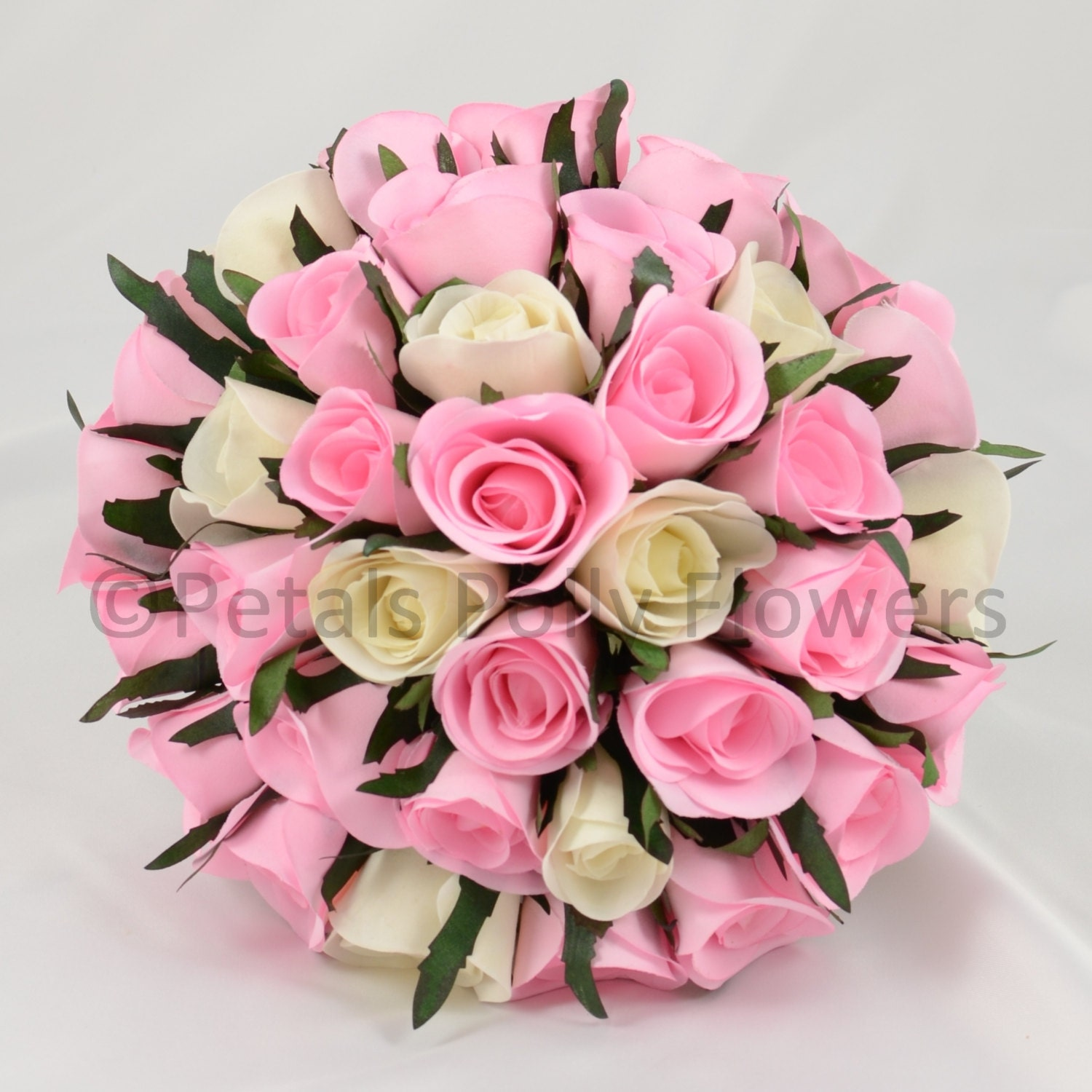 Artificial Wedding Flowers Baby Pink  Ivory Rose Brides Bouquet Posy (1)