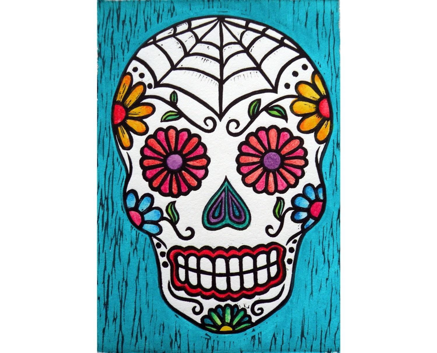 Sugar Skull (hand-colored linocut)