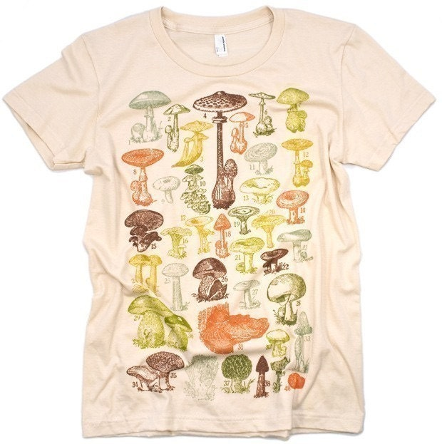 ON SALE Mushrooms Of the World Women's Creme Graphic Tee Shirt