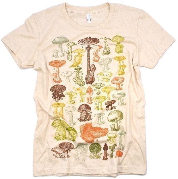 ON SALE Mushrooms Of the World Women's Creme Graphic Tee Shirt