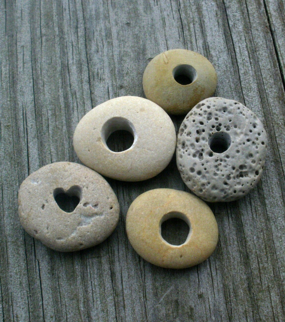 RESERVED for carmen78 -PUTTY- genuine drilled and engraved beach stone rounds- diy