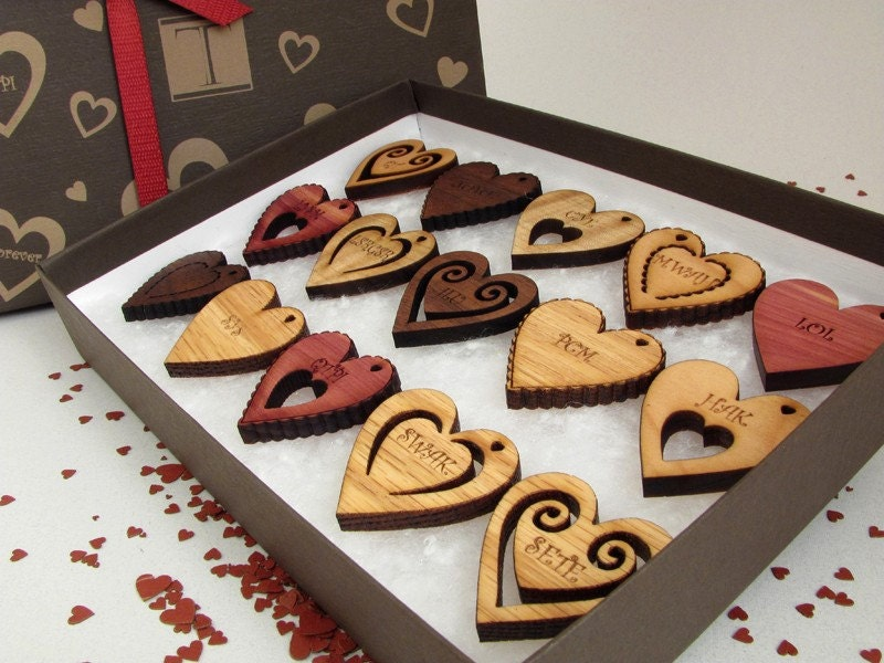 TXT Message Hearts - Laser Engraved Wooden Hearts - (15) Set