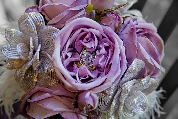 Candace sweetheart pink rose bridal bouquet - French beaded flower bouquet with Crystal/Silk flowers and heavenly feathers