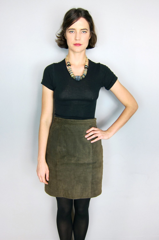 olive green leather skirt by secretshopvintage on etsy