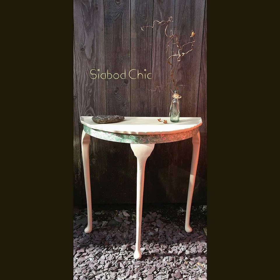 Shabby chic half moon solid wood table upcycled in Annie Sloan chalk paint  decorative paper