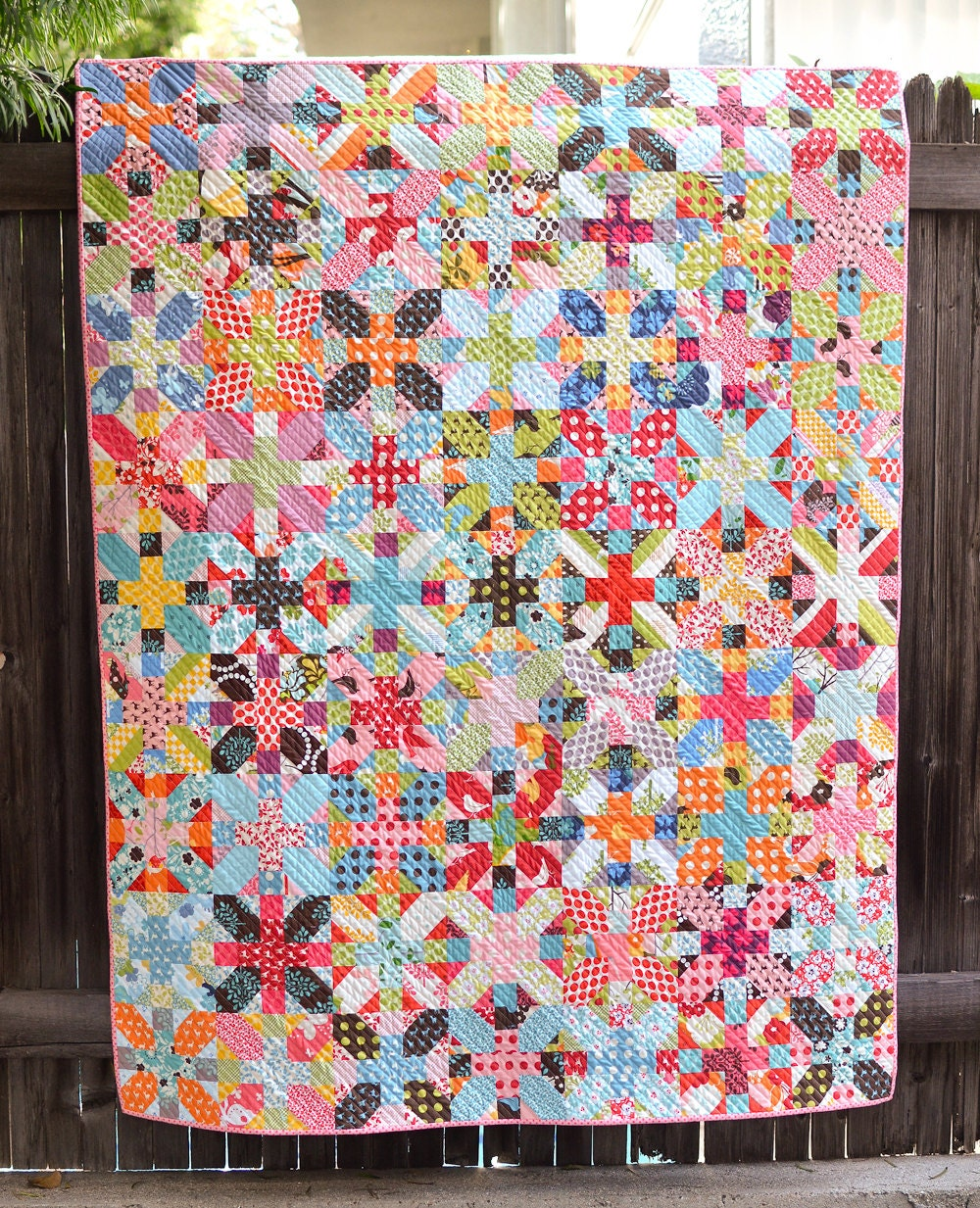 Handmade Lap Quilt - Colorful Patchwork made with Momo's Oh Deer, It's a Hoot, and Just Wing It fabric for Moda, backed with Minky Fabric - ericajackman