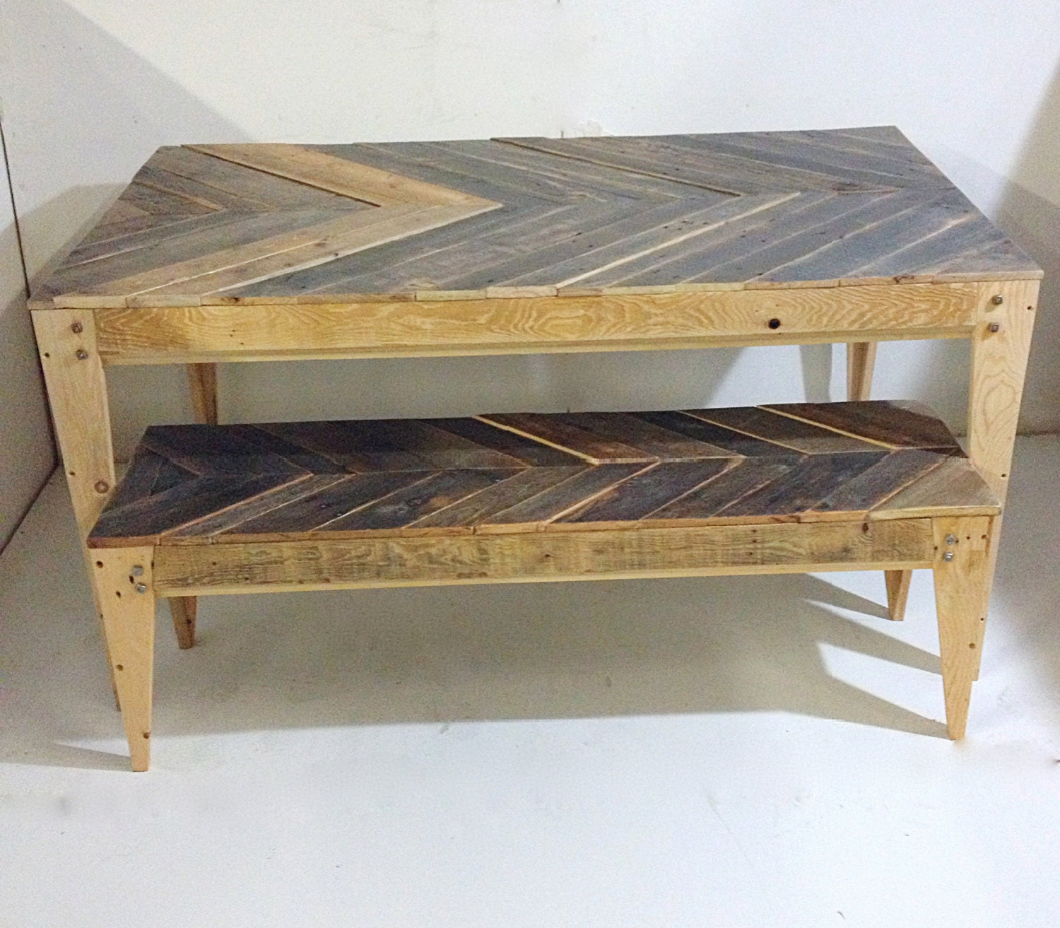items similar to chevron pallet dining table and bench on etsy